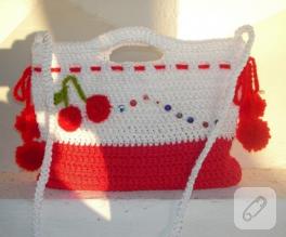 Küçük hanımlara örgü yaz çantaları