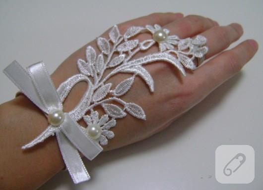 Fransız dantel nikah eldiveni