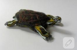 Keçe iğneleme kaplumbağa