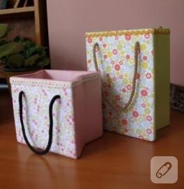 Dekupaj kağıtları ile hediye paketi