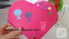 Kartondan keçe süslemeli kalp kutu