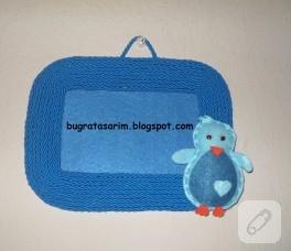 Mavi keçe çerçeve