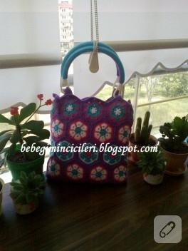 Afrika çiçeği yazlık örgü çanta