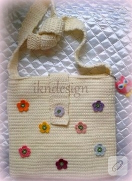 Tunus işi çiçekli örgü çanta