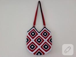Motifli örgü çanta
