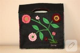 Örgü motifler ve keçeden yaptığım çanta ve cüzdanım