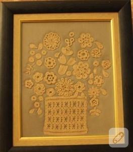 Dantel çiçekli tablo
