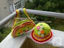 Yazlık tığ işi çanta ve şapka