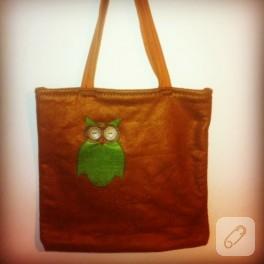Keçe çanta – baykuş işlemeli
