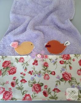 Keçe kuş aplikeli havlu kenarı