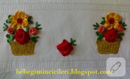 Çiçek sepetli kurdele nakışı havlu kenarı