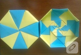 Sarı mavi origami kutu