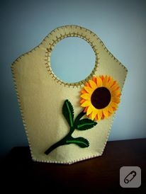 Keçeden ayçiçekli çanta
