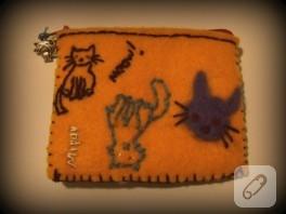 Keçe kedi ayrıntılı cüzdan