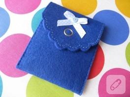 Minik mavi keçe cüzdan