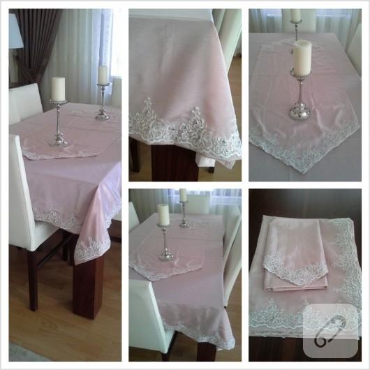 Fransiz güpür masa örtüsü