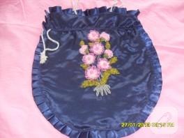 Kurdele nakışı ayçiçekli çanta