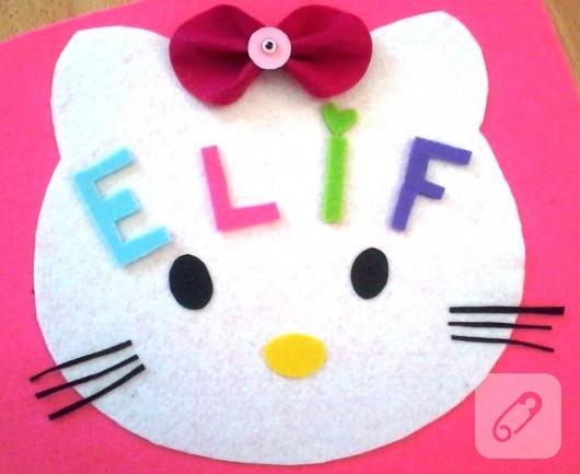 Hello Kitty keçe duvar süsü