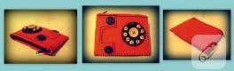 Keçeden telefon şeklinde cüzdan