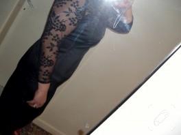 Dantel detaylı siyah abiye elbise