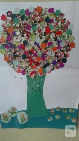 Çocuk etkinlikleri; kolaj ağaç yapımı