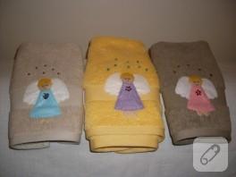 Melek aplikeli küçük el havluları (havlu kenarı)
