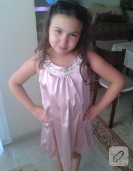 Kız çocuk için pembe abiye elbise (dikiş)