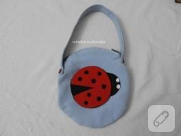Uğur böcekli kot çanta