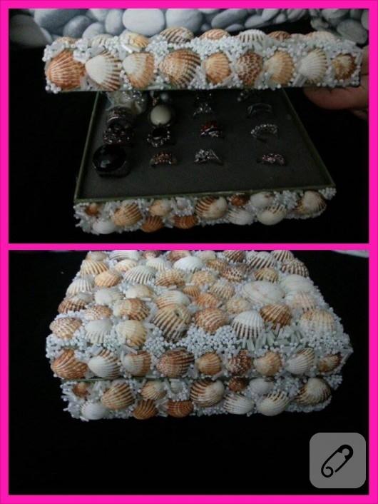 Deniz kabuklarıyla kutu süsleme