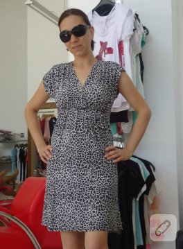 Leopar penye elbise (dikiş)