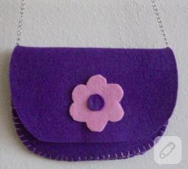 Kızlar için mor keçe çanta
