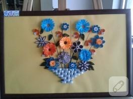 Quilling çiçek sepeti tablo