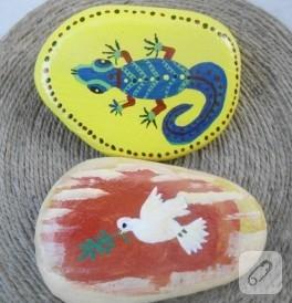 Değişik motiflerle taş boyama örnekleri