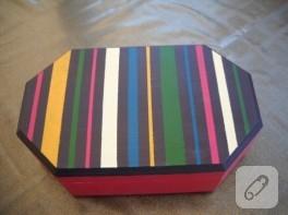 Ahşap boyama çizgili takı kutusu