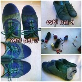 Keçeli kalemle ayakkabı süsleme