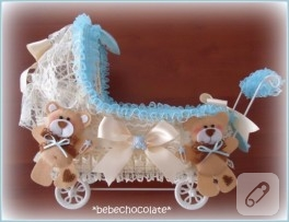 Fırfır ve keçe süslemeli bebek şekeri sepeti