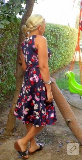 Çiçekli kloş elbise