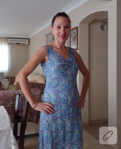 dikiş şal desenli elbise
