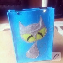 Keçeden kedili çanta