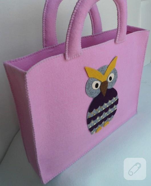keçeden baykuşlu çanta