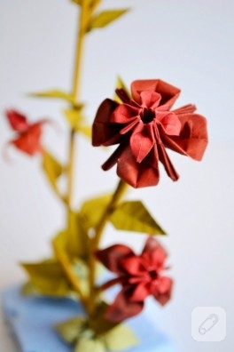 Origami bonsai – kağıttan çiçekler