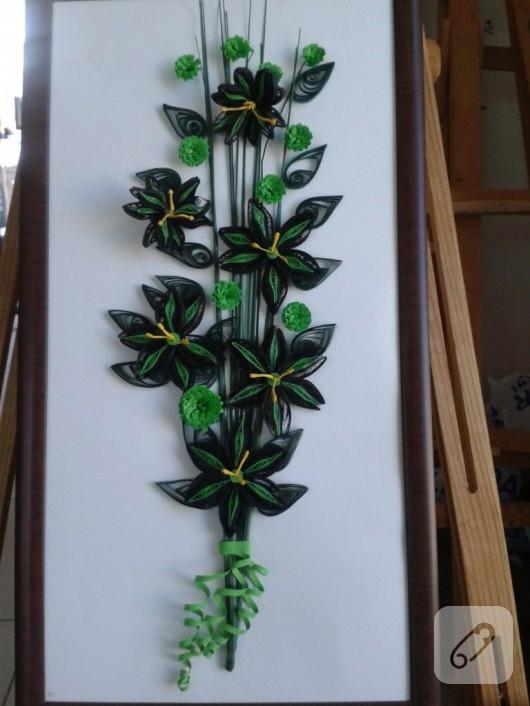 Quilling çiçekli tablo