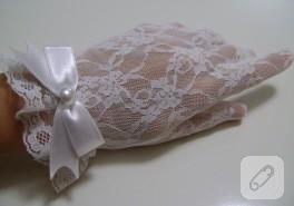 Kırık beyaz dantel nikah eldiveni