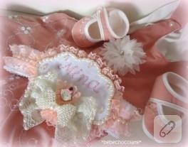 Dantel fiyonk süslemeli bebek saç bandı