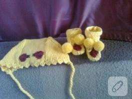Bebek örgüleri; motifli bere ve patik