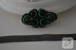 Yeşil siyah broş yapımı