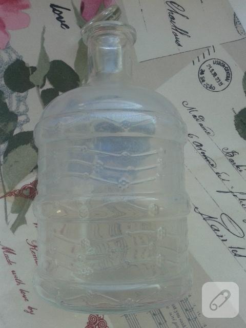 Cam şişeye peçete dekupaj