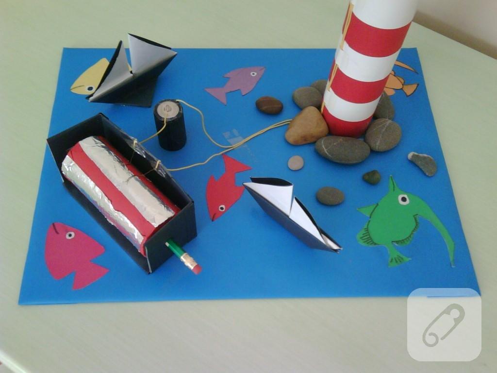 çocuk Etkinlikleri Yanıp Sönen Deniz Feneri Yapımı 10marifetorg