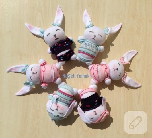 çoraptan bebek yapımı tavşan