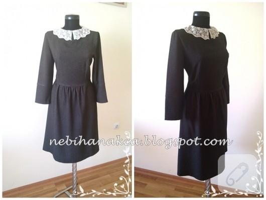 Dantel yakalı siyah elbise
